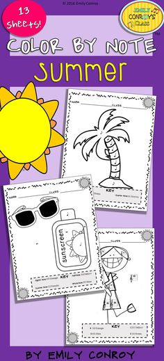 Color by Note (Summer) contains 13 music coloring sheets for elementary music… Music Lesson Plans, Music Lessons, Music Education, Music Class, Kindergarten Music, Smart Board Activities, Music Worksheets, Piano Teaching, Elementary Music