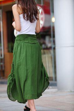 Summer Maxi skirt Long Linen Skirt In Forest by Sophiaclothing
