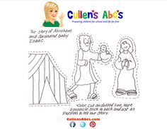 Abraham and Sarah activity page. Your child colors the Abraham and Sarah stick puppets, cuts them out, and adds a stick to the back. You can use them to help tell the story. Here is a video the fun and tiring Father Abraham song! http://cullensabcs.com/video/song-father-abraham/