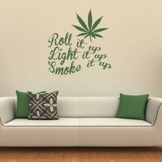 Roll It Up Wall Sticker Weed Wall Decal Art available in 5 Sizes and 25 Colours Small Black Wall Decals For Bedroom, Name Wall Decals, Wall Decal Sticker, Nursery Stickers, Wall Stickers Home Decor, Cannabis, Marijuana Funny, Medical Marijuana, Family Tree Wall Sticker