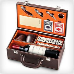 The Entertainer  This gift is a party in a box, and includes a bottle of wine, playing cards, dominoes, dice, and more all perfectly packed into it. You also get to engrave the box for free so you can personalize it and really make it special. If they love to entertain you have to get them The Entertainer. $84