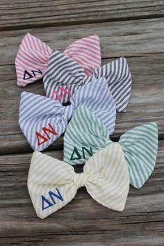 Greek Letters Bow Tie Style Seersucker Hair Bow