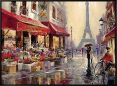April in Paris Framed Canvas Print by Brent Heighton at AllPosters.com