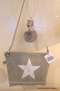 Sac bandoulière réglable avec étoile glitter
