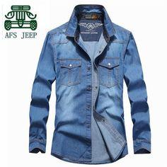 AFS JEEP M to 4XL Plus Size Spring Autumn Men's Long Sleeve Casual Denim Cool Shirt,Front Pocket Cowboy Blue Cotton Brand Shirt