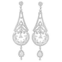 Large Diamond Chandelier earrings with round and rose cut diamonds in 18k white gold