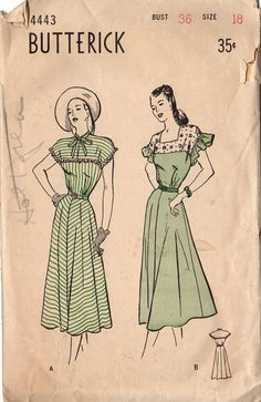 Vintage 1940s Butterick Sewing Pattern 4443 Women's Flare Skirt Dress Bust 36…