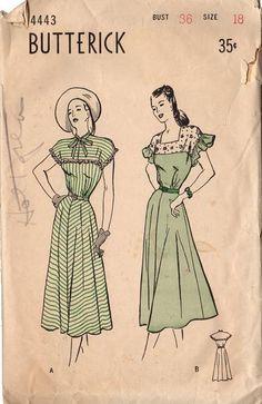 Vintage 1940s Butterick Sewing Pattern 4443 Women's Flare Skirt Dress Bust 36…
