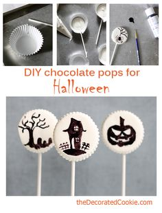 DIY chocolate pops for Halloween ~ the decorated cookie
