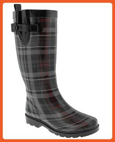 Capelli New York Shiny Scottish Plaid Printed Ladies Tall Rubber Rain Boot  Black Combo 10 - 43712ac9e894