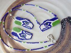 Seahawks Hawks kelly green and dark blue hand by 1ofAKindByDesign