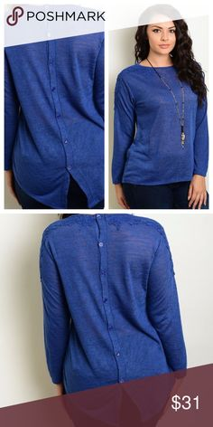 """Plus Size Long Sleeve Top Blue plus size top with lace detailing around shoulders and buttons down back. Back side is a couple inches longer than front.                                              🔹Material- 95% polyester 5% spandex. Wash instructions: hand wash cold separately              🔹Measurements- 1X Bottom across 25"""" Bust 22"""" Length 27"""" ( 32"""" long on back) 2X Bottom 27"""" Bust 23"""" Length 27"""" (32"""" on back) 3X Bottom 29"""" Bust 24"""" Length 28"""" (33"""" on back)             ❌No trades…"""