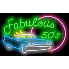 #fabulous50s #50s #fabulous #car #retro #neon #neonsigns #jantecneon www.jantecneon.com Neon Signs For Sale, Cool Neon Signs, Vintage Neon Signs, Custom Neon Signs, Retro Vintage, Neon Open Sign, Neon Words, Neon Design, Rainbow Light