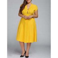Amarillo Vestido Llamarada Cabo Manga Cuello V Profundo Plisado   15,15€