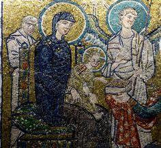 Adoration des mages (détail), Vierge à l'enfant, St Joseph et ange, 705-706, mosaïque provenant de l'oratoire de Jean VII, basilique primitive de St Pierre, Exposition Santa Maria Antica tra Roma e Bisanzio, Rome.