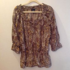 APOSTROPHE SHEER TOP Beige & Taupe sheer top with 3/4 sleeves, Apostrophe Tops