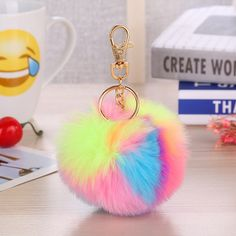 Multicolor Fluffy Fur Pompom Balls Keychain Car Handbag Pendant for Women Faux Fur Pompom Key Chain Keyring Gifts for Friends Mens Gear, Cool Gear, Cute Fashion, Gifts For Friends, Jewelry Sets, Faux Fur, Cool Outfits, Happy Birthday, Personalized Items
