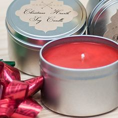 # Soy Candle Making Instructions: Holiday Candle Tins - From CandleScience. Soy candle tins are a good place to start if you ve never made candles before. this easy step-by-step instructions to make your first soy candle tin for the holiday season. Soy Candle Making, Candle Making Supplies, Making Candles, Oil Candles, Soy Wax Candles, Candle Wax, Scented Candles, Candle Magic, Candle Making Business