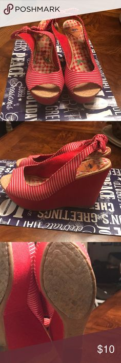 Wedges Red and white striped badges Rocket Dog Shoes Wedges