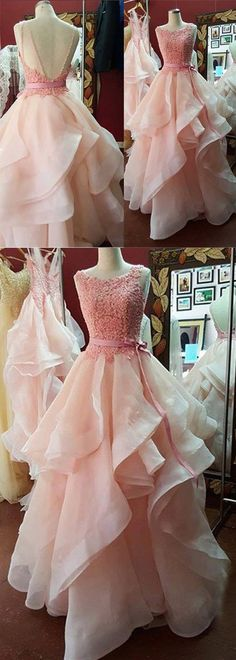 Modern Pink Prom Dress - Crew Neck Sweep Train Tiered Backless with Lace Sash