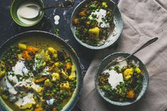 Curry met linzen, bloemkool