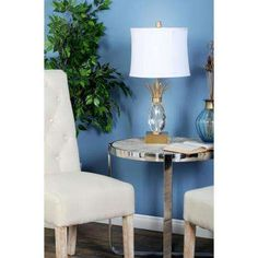 26 in. Clear Pineapple-Shaped Crystal Table Lamp with White Shade and Gold Accents