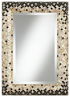 "Master or Powder bath - Checkered Sea Shell 33"" Mosaic Wall Mirror | LampsPlus.com"