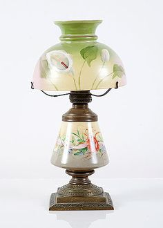 Antique Bristol Glass Handpainted Originally Gas Table Lamp