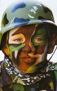"Face painting. Camouflage or Soldier. This is from a Snazaroo brand face paint booklet. Boys love it. Several have asked me, ""Where's my helmet?"" So be sure to tell them the helmet is not included!"