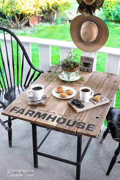 Mini patio Farmhouse styled table, made with Old Sign Stencils | funkyjunkinteriors.net