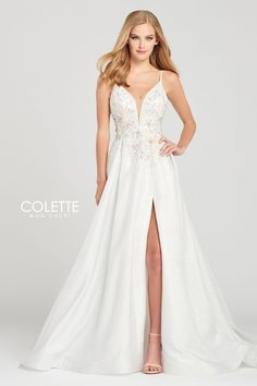Colette for Mon Cheri CL12014. Sleeveless glitter novelty ball gown with a plunging v-neck, appliques and stone accents throughout the bodice, natural waist, open back, pleated skirt and a horsehair hem.