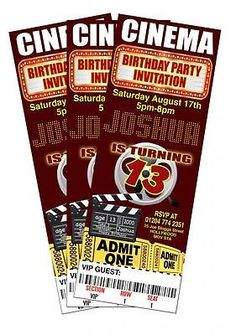 CINEMA FILM MOVIE Theme Quality Birthday Party Invitations (Personalised)