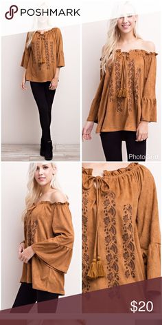 Geogeous Faux Suede off/on shoulder top NWOT New without tags Never worn!!!!Its a beautiful camel color mittoshop Tops Blouses