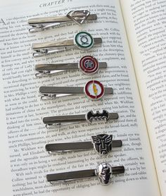 Super Hero Tie Clip 12 Styles Special SALE NEW by DashwoodShop, $10.99