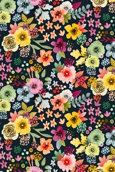 Spring Floral at Night by Angel Gerardo - Vibrant hand illustrated floral pattern on fabric wallpaper and gift wrap. Beautiful vibrant floral pattern in pink mauve green sky blue and yellow on a black background. Flower Illustration Pattern, Illustration Blume, Botanical Illustration, Phone Backgrounds, Wallpaper Backgrounds, Iphone Wallpaper, Floral Backgrounds, Kate Spade Wallpaper, Trendy Wallpaper