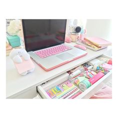 Furniture: Incredible Chic Pink Desk Organizers Cute Desk Organizers Pertaining To Cute Desk Supplies Decorating from cute desk supplies intended for House Study Room Decor, Bedroom Decor, Kawaii Bedroom, Desk Inspiration, Inspiration Quotes, Room Goals, Dream Rooms, Dream Bedroom, Room Organization