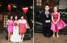 I love the idea of giving  your wedding party a color scheme and let them all pick their outfits (no matching dresses or suits), my bridesmaids carried heart balloons instead of bouquets