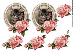 Vintage cat roses topper decoupage on Craftsuprint designed by Marijke Kok - Vintage cat