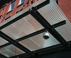 Corrugated glass awning