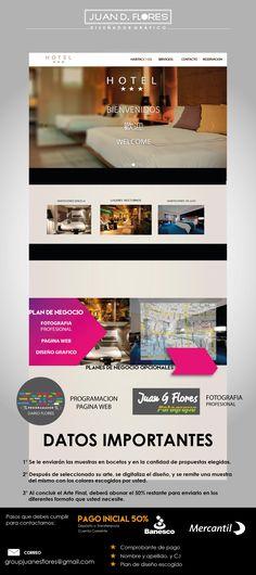 Elaboración de diseño pagina web Modelo  turismo Hotel