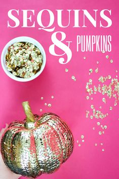 Glitz, Glam And Ghouls, This Halloween Got A Little More Fun Whether Its Just One Or Dozens, These Sparkly Sequin Glitter Pumpkins Are The Perfect Addition To Your Holiday Decor Glitter Pumpkins, Faux Pumpkins, Painted Pumpkins, Easy Fall Crafts, Fall Diy, Diy Halloween Decorations, Halloween Crafts, Halloween Party, Halloween Activities