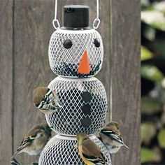 Snowman Birdfeeder Quick and easy decoration is good for the birds, too.