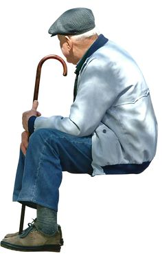 Old man sitting with walking stick Pedro Ribeiro Simões/CC-Attribution