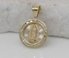14k White Gold Guadalupe Medal For Rosario 18mm x 13mm