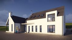 The proposed house is a modern representation of the traditional Irish vernacular form. The living block presents a narrow gable to the front whilst the bedroom block reads in union with this narrow form. House Designs Ireland, Two Storey House, Modern Bungalow, Modern Farmhouse Exterior, Types Of Houses, Building A House, Architecture Design, Donegal, House Styles