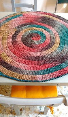 Tunisian Crochet PATTERN for Spiral Rug. Whirl spiraling Carpet worked in the round. Swirl self-striping Yarn Project. Written Instructions Tunisian Crochet PATTERN for Spiral Rug. Tunisian Crochet, Crochet Yarn, Crochet Hooks, Spiral Crochet, Funny Baby Clothes, Funny Babies, Crab Stitch, Kids Photo Props, Types Of Patterns