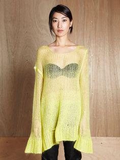 Ann Demeulemeester acid yellow - mohair + oversized = win