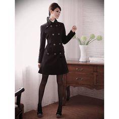 Asia Kleidung Online Shop Stilvoller Schwarzer Frauenmantel Im Milit&