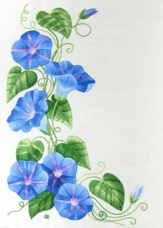 Needle Painting Kits - Needle Painting or Thread Painting Hand Embroidery Kits of Flowers (Silk Shading, Silk Embroidery), - Morning Glory Tattoo, Morning Glory Vine, Morning Glory Flowers, Morning Glories, Thread Painting, Fabric Painting, Hand Embroidery Kits, Embroidery Designs, Painting Art