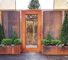 Bespoke corten steel screen and gate. Custom Gates, Corten Steel, Bespoke, Landscape, Garden, Projects, Beautiful, Home Decor, Taylormade